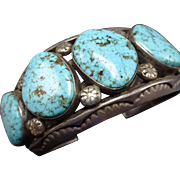 Heavy Vintage NAVAJO Hand Stamped Sterling Silver & TURQUOISE Cuff BRACELET 112g