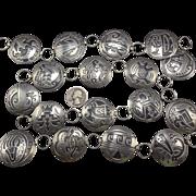 """Signed Vintage HOPI Sterling Silver Overlay CONCHO LINK BELT 38"""""""