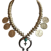 Vintage NAVAJO Mercury Dime Beads & Walking Liberty Half Dollar Coin NECKLACE