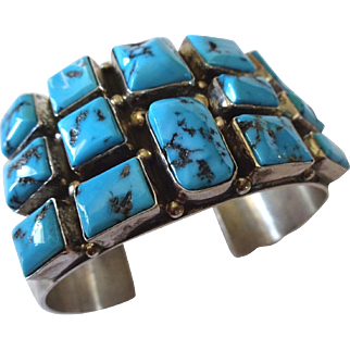 Signed Vintage NAVAJO Sterling Silver & Turquoise Square Cluster Cuff Bracelet