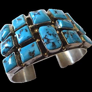 Signed Vintage NAVAJO Sterling Silver & Turquoise Square Cluster Cuff Bracelet
