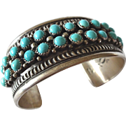 Heavy Signed Vintage NAVAJO Sterling Silver Petit Point Turquoise Cuff BRACELET