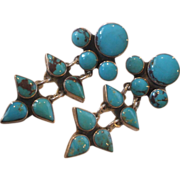 Exquisite Vintage FEDERICO JIMENEZ Sterling Silver & Turquoise Cluster EARRINGS