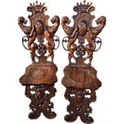 19th Century Sgabello Chair, Italian Baroque (pair)