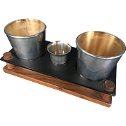 Reed and Barton Heavy Bar Glass Enamel Lined Sterling Silver Cups Set - Model X577 - 1940s
