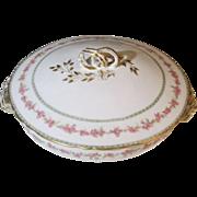 Haviland Limoges Pink Flower,  Gold Ribbon Vegetable Server with Lid
