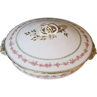 Haviland Limoges Pink Flower,  Gold Ribbon Vegetable Server with Lid