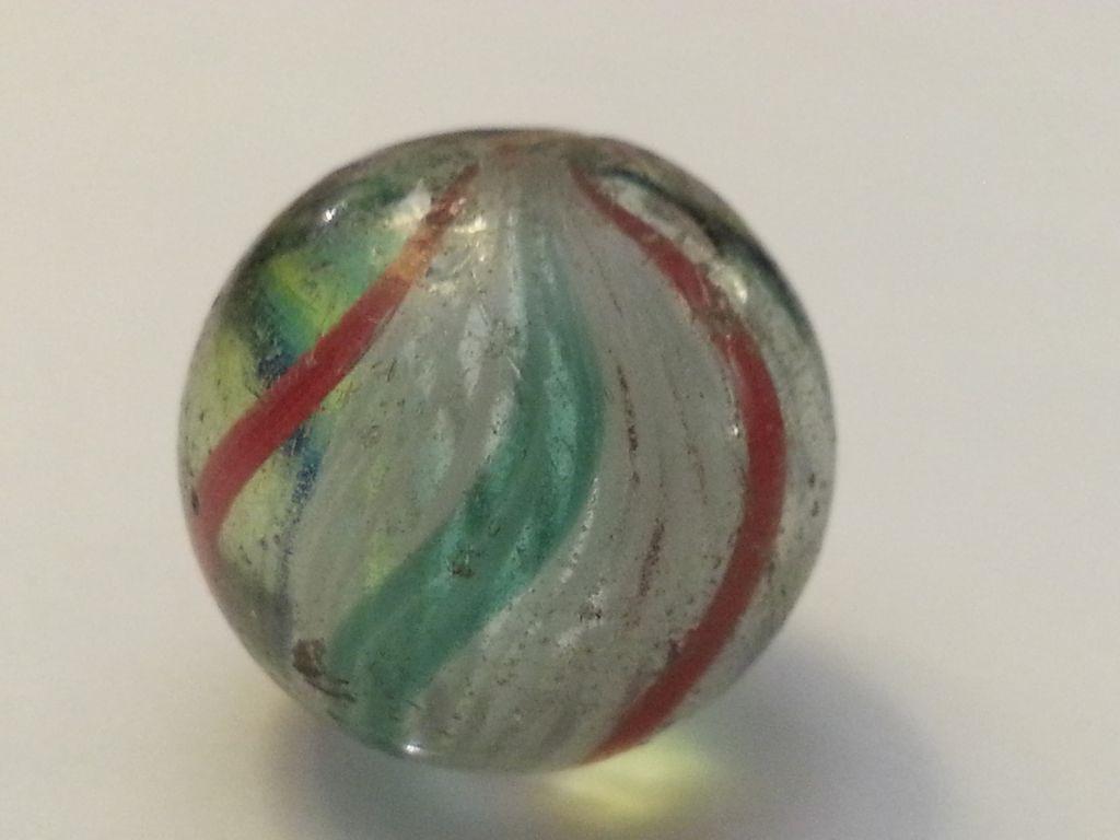 Five German Latticinio And Solid Core Swirls Marbles