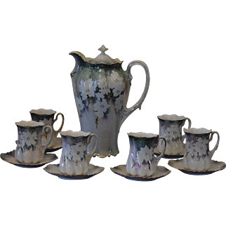R.S. Prussia Chocolate Pot with 6 Cups and Saucers