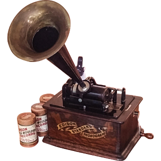 Edison Standard Phonograph Model C with Three wax cylinders.