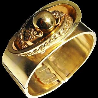 Victorian Bracelet Etruscan Jewelry Post Georgian Jewelry 19th Century 18K Gold Jewelry Cuff bangle Statement Bangle Antique Gold Bracelet Statement Jewelry Big Gold Bracelet Antique Heirloom Etruscan Revival 1870s 1880s Handmade Museum Quality Rare