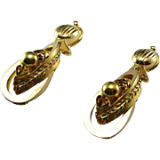Victorian Earrings Antique Earrings Antique Gold Earrings Post Georgian Earrings 14K Gold Drop Earrings Etruscan Jewelry Dangle Earrings Ear Pendants Important Museum Quality Etruscan Revival Antique 19th century Heirloom Handmade One of a Kind
