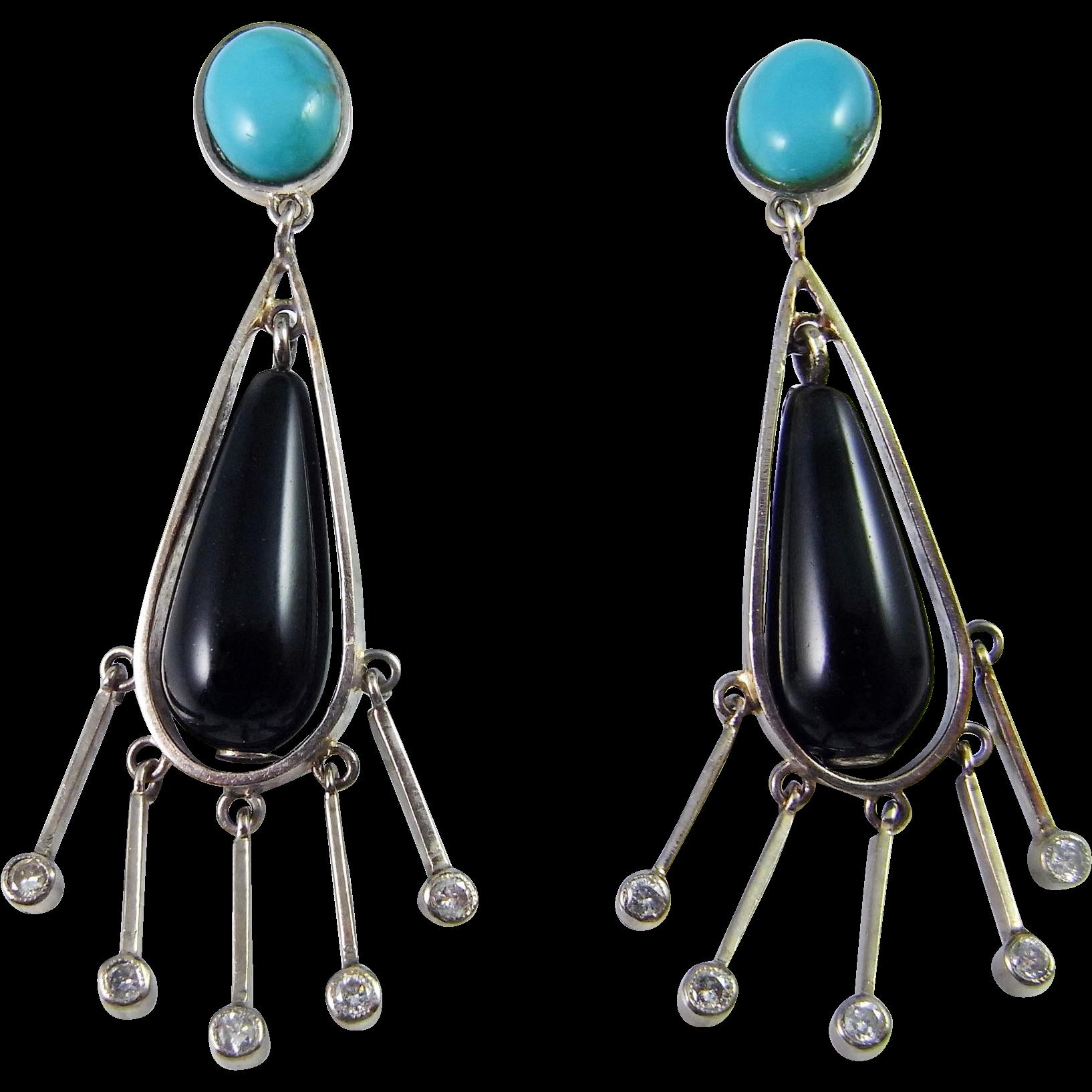 Art Deco Diamond Earrings 18k Gold Turquoise Diamond Drop Earrings Onyx  Dangle Earrings 1940s 1930s 1920s Handmade Chandelier One Of A Kind High  End Luxury