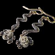 17th Century Renaissance circa 1650 Skull Crossbones Snake Diamond Emerald Enamel 18K yellow gold fine silver earrings