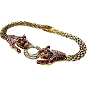 Ruby Diamond Bracelet 14K Gold Tennis Bracelet Panther Cat Tiger Leopard Jaguar Cougar Kitten Cheetah Vivid Gem Natural Ruby Fine Diamond High End Sparkly Cluster Pave Heirloom Jewelry Anniversary Bridal Wedding Duchess of Windsor