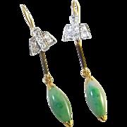 Art Deco Diamond Earrings Diamond Jade Jadeite Drop Earrings circa 1930 latinum 16K gold 1920s 1940s Downton Abbey Great Gatsby Handmade Dainty Pretty Jade Cabochon Old Cut Diamond Pretty Wedding Jewelry Anniversary
