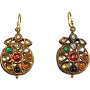 Kundan Earrings Kundan Jewelry 22K Gold Earrings Colorful Earrings Mughal Earrings Mughal Jewelry Antique Gold Earrings Cabochon Earrings Mogul 19th Century Victorian Antique Gold Drop Earrings 22K 18K Gold Colorful Cabochon Rose Cut Old Cut Diamond