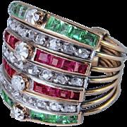 French Art Deco Emerald Diamond Engagement Ring Harem Ring Wedding Ring Emerald Ring Ruby Ring Rose Cut Diamond 18K Gold Multi band Harem Ring 1920s 1930s 1940s Dress Cocktail Anniversary