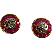 Art Deco Ruby Diamond 18K White and Yellow Gold 1920s Earrings Studs