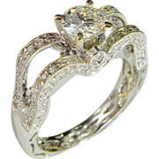 18K Diamond Engagement Ring Heart and Crown Design White Gold Retro Vintage Fine Wedding Ring Mid Century Vintage Unique One of a Kind Band Solitaire 1950s 1960s 1970s Mid Century
