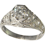 1920s Art Deco Engagement Ring Diamond Ring in Platinum Old European Cut Diamond Wedding Band Dress Ring Anniversary Ring Promise Ring Old Mine Cut Old Cut 1930s 1940s Filigree Handmade Unique