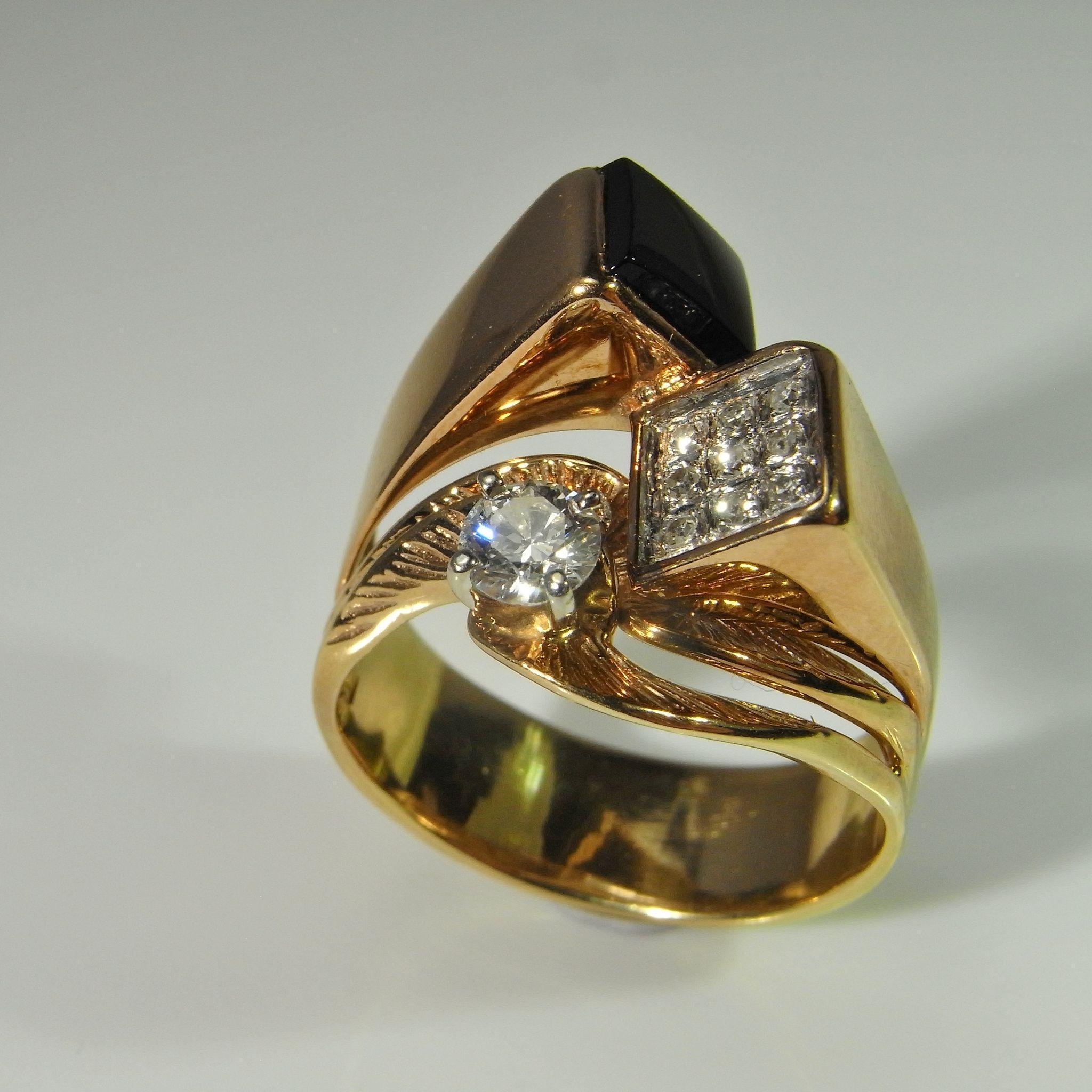 asymmetric onyx diamond ring 14k gold solitaire diamond ring pave