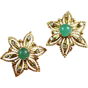 Natural Emerald Cabochon 1950s Earrings Gold Clip On Earrings Diamond Earrings Emerald Earrings Handmade Earrings Unique Earrings Mid Century Earrings Modernist 14K Modernist Star