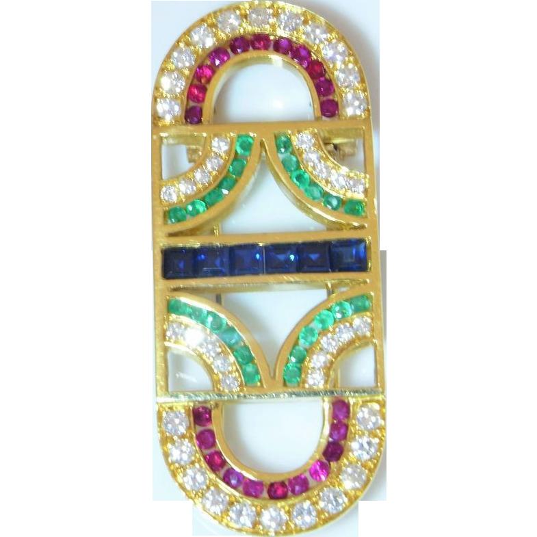 Vivid Gem Ruby Brooch 18K Gold Sapphire Brooch Emerald Pin Diamond Brooch Pendant Art Deco Style Jewelry Wedding Jewelry Bridal Jewelry Anniversary Natural Gems Vintage 1980s Geometric Machine Age Statement High End Heirloom 1920s 1930s 1940s Style