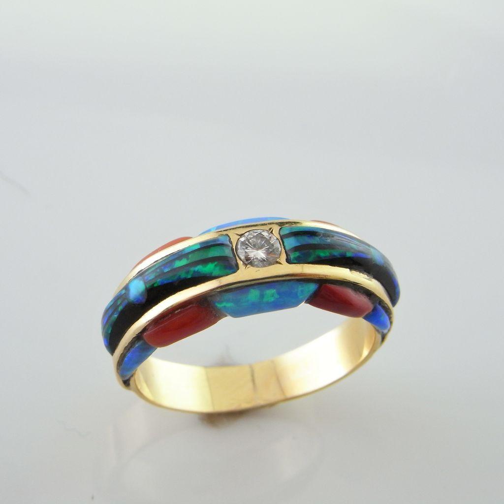 Diamond Opal Engagement Ring 14K Gold onyx wedding band Roll over Large image to magnify click Large image to zoom