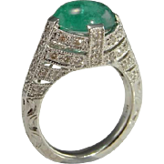 Emerald Diamond 14K Ring Cabochon Emerald Natural Emerald Ring Large Emerald Ring Color Engagement Ring Wedding Band Anniversary Ring Cocktail Dress Mid Century Modernist Bombe Unique One of a Kind 1950s 1960s 1970s Vivid Gem Luxury High End Rare
