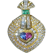 Ruby Diamond Pendant 18K Emerald Pendant Sapphire Pendant Natural Gems Vivid Earth Mined Exceptional High End Luxury Sparkly Romantic Sentimental Wedding Bridal Jewelry One of a Kind Retro Estate Mint Condition Valentines Day Hollywood Glamour Heart
