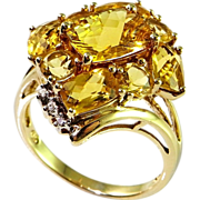 Retro Heliodor Yellow Emerald Beryl Diamond and Solid 10K Gold Cluster Ring Golden Beryl Cocktail Ring Dress Ring Mid Century 1950s Statement Floral Unique