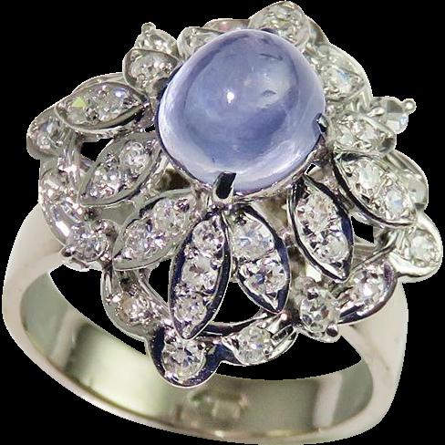 Art Deco Cabochon Sapphire Diamond Ring Engagement Ring Wedding