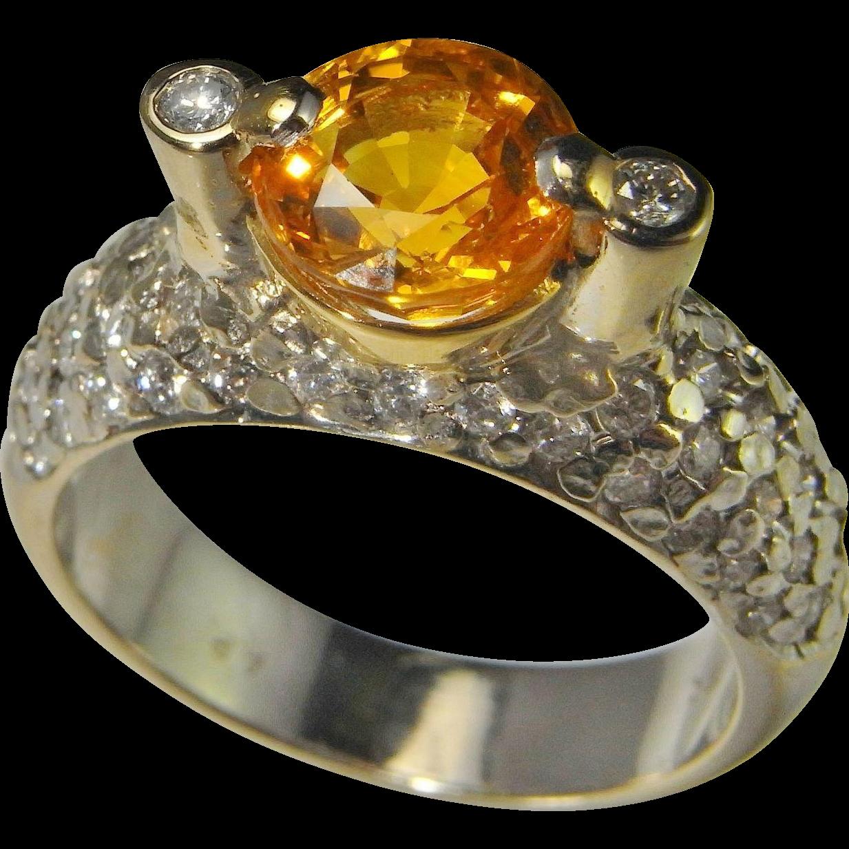 Golden Sapphire Diamond Engagement Ring Wedding Ring Anniversary