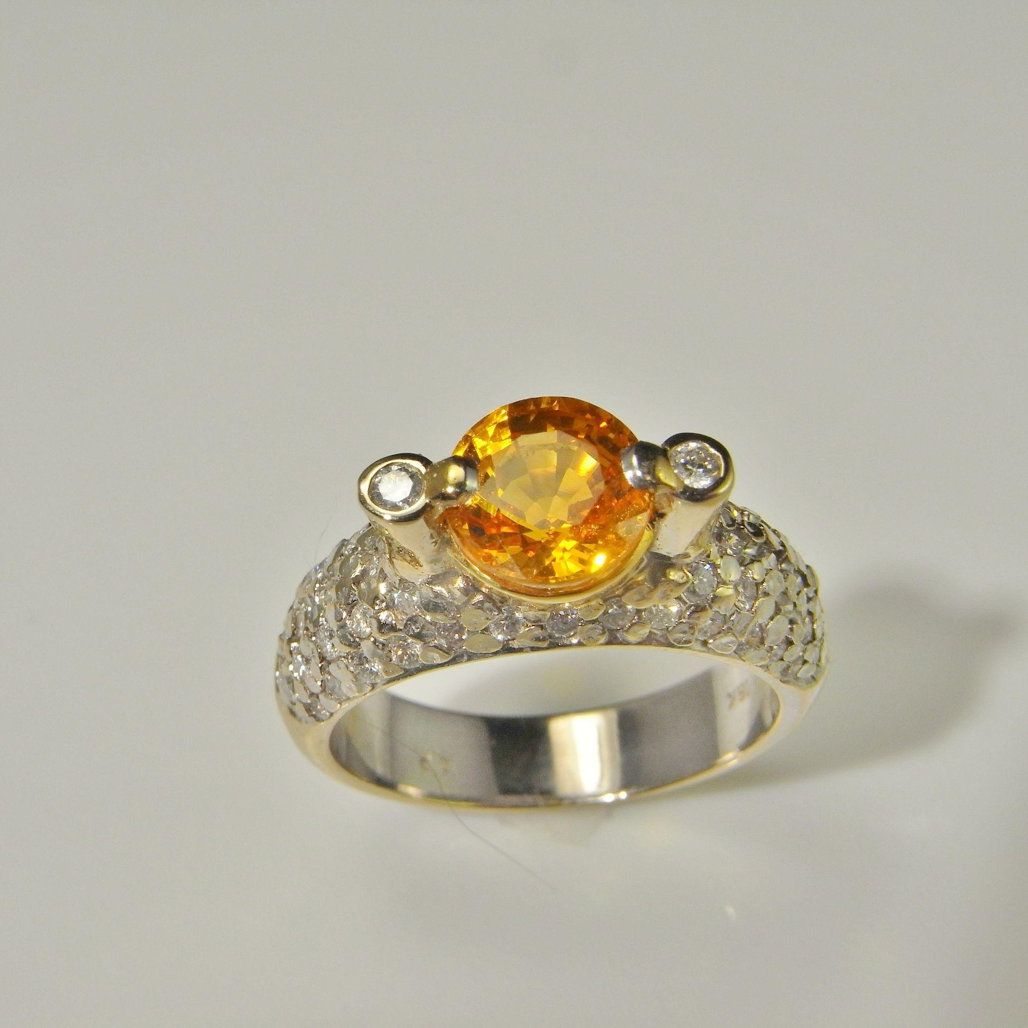 Golden Sapphire Diamond Engagement Ring Wedding Ring Anniversary