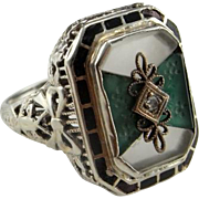 Art Deco Gold Ring Old Cut Diamond Ring 1920s Ring Antique Enamel Ring 1930s Ring Chrysoprase Ring Rock Crystal Ring Inlay Ring Filigree Great gatsby Downton Abbey Enamel Filigree Bow 1920 1930 20s 30s Pretty Dainty Delicate Ring