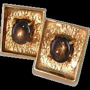 Men's Gold Cufflinks Star Sapphire 14K 1950s Modernist  Retro Solid Gold Mid Century
