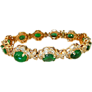 Natural Emerald Diamond Bracelet Tennis Bracelet Oval Cut Diamond Halo Cabochon 1980s 14K Yellow Gold Luxury High End Anniversary Wedding Bridal Exceptional Duchess of Windsor