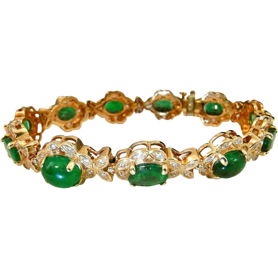 Natural Emerald Diamond Bracelet Tennis Oval Cut Halo The Genuine Article Jewelry Ruby Lane