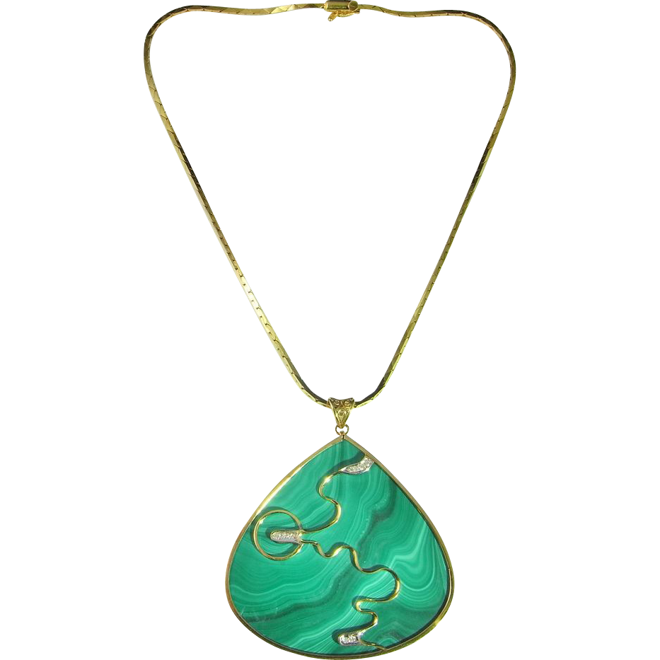 Malachite Diamond Pendant Necklace 14KGold Chain Modernist ...