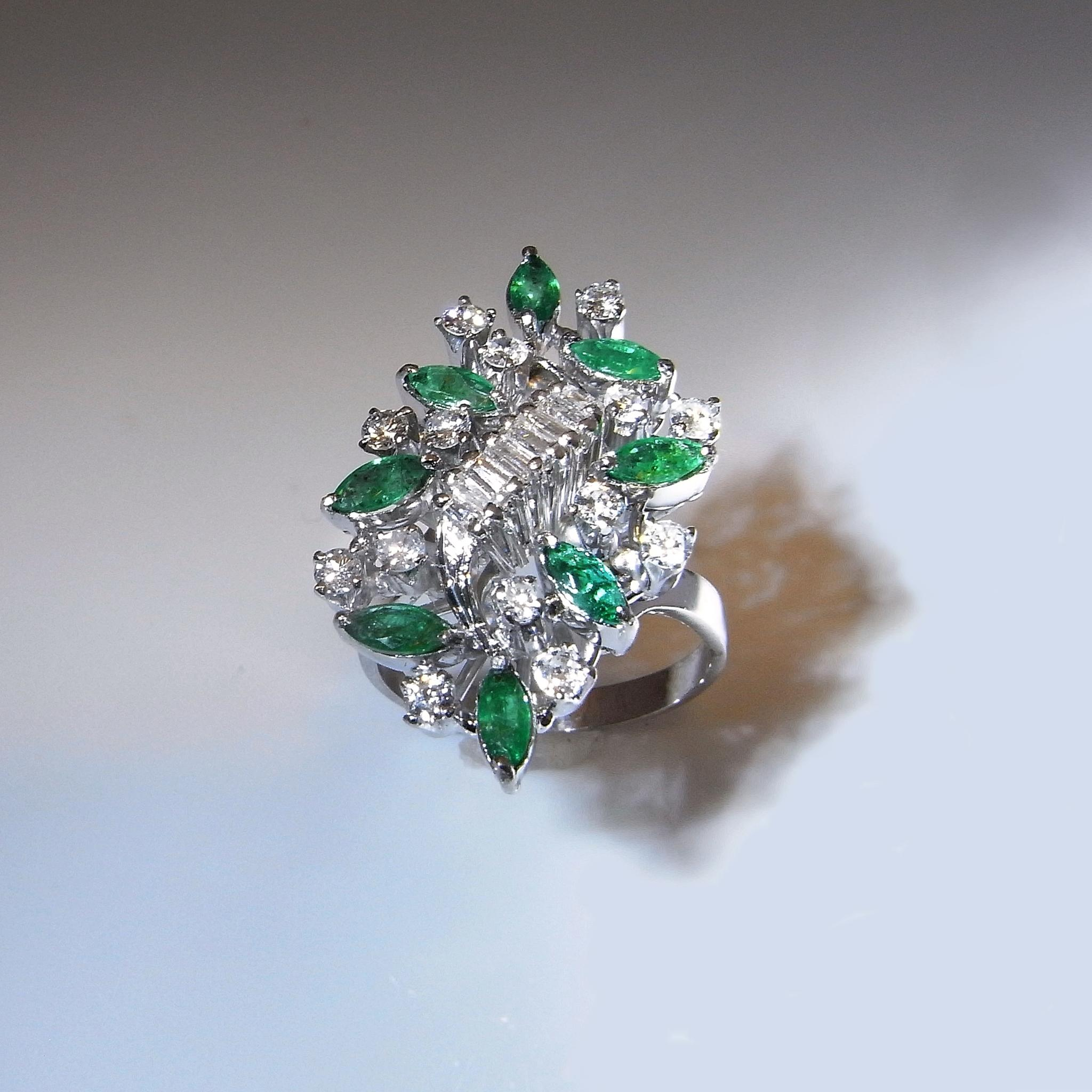 emerald diamond ring spray ring 14k gold cluster large asymmetric