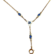 Exceptional belle époque hand made one of a kind antique solid 12K gold and fine hand guilloche enamel link lavalier necklace chain