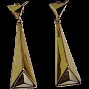 Modernist Gold Earrings Handmade Earrings 14K Gold Drop Dangle Chandelier Minimalist Jewelry Mid Century 1950s 1960s 1970s White Gold Yellow Gold Multitone Multicolor