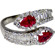 Ruby Engagement Ring Unique Color Engagement Ring Toi et Moi Engagement 18K White Gold Ring Snake Betrothal Ring Ruby Wedding Band