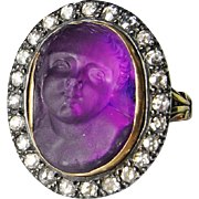 Superb Georgian Ring Amethyst Cupid Cameo Diamond Gold Ring Antique Cameo Ring Victorian Cameo Diamond Gold Ring Putto Angel Christ Child