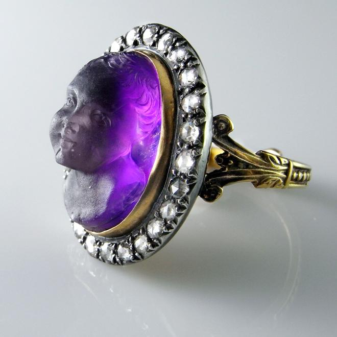 Superb Georgian Ring Amethyst Cupid Cameo Diamond Gold
