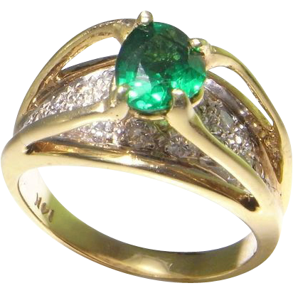 14K Gold Engagement Ring Wedding Color Dress Promise Anniversay Handmade Vintage Unique Pretty Dainty Solitaire Vivid Emerald Green