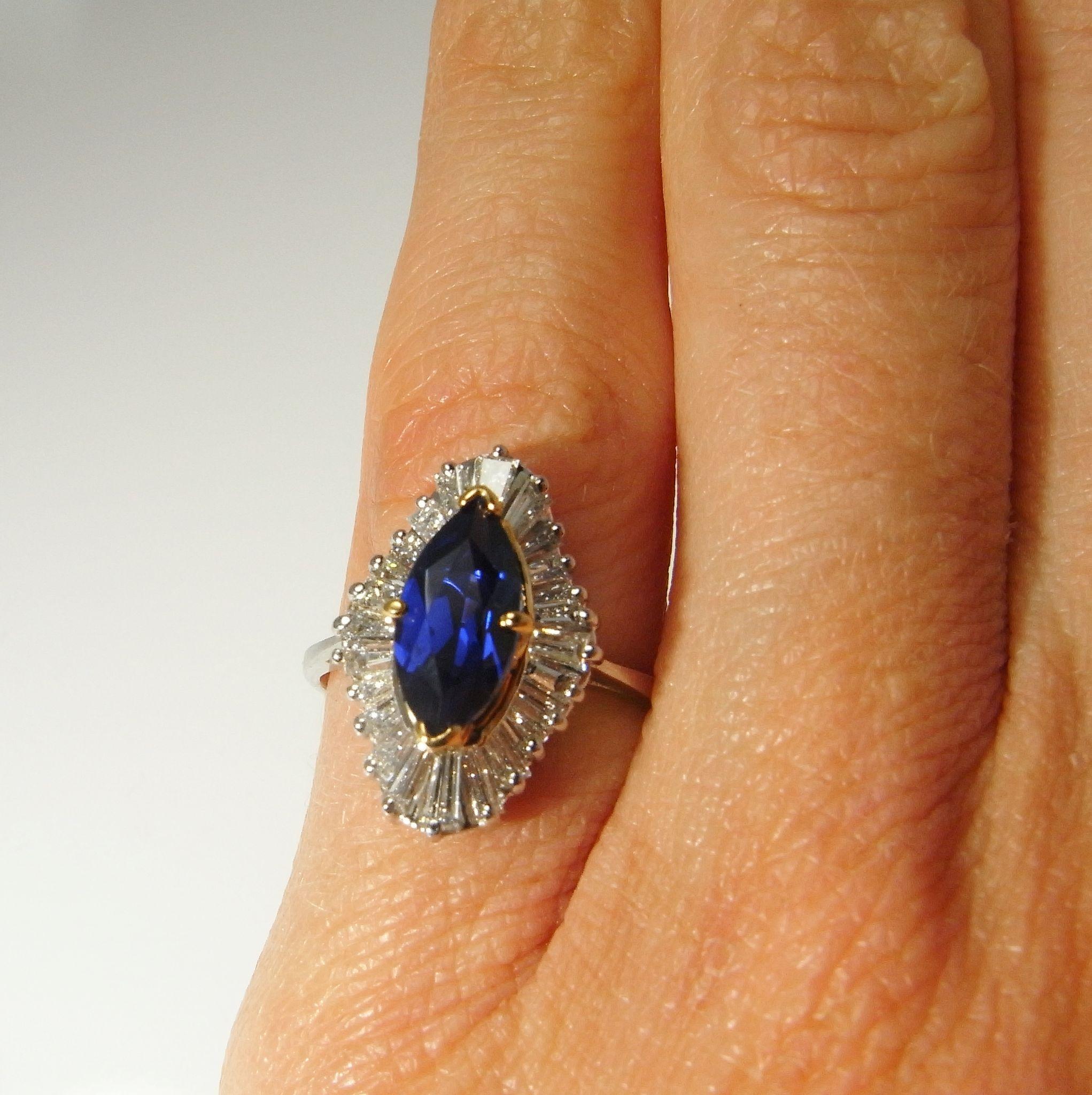 Vivid Blue Gem Sapphire Diamond Engagement Ring Wedding Ring from