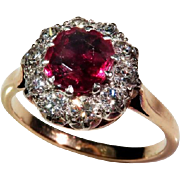 Antique Vivid Natural Unheated Red Ruby Diamond Engagement Ring Victorian Post Georgian Jewelry Ruby Anniversary Ruby Engagement Ring Wedding Ring Band Old European Cut Diamond Ring 18K Gold One of a Kind Heirloom Jewelry Cluster Gatsby 19th Century