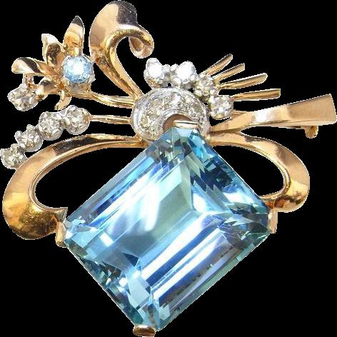Santa maria aquamarine diamond brooch 18k yellow gold pin for Santa maria jewelry company